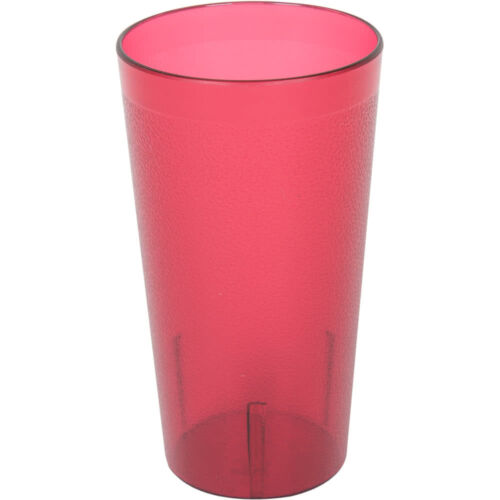 48 PACK 16 Oz Red Pebbled Plastic Tumbler Commercial Restaurant Cup Glass Case