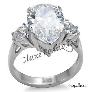 6-65-Ct-Pear-Shape-AAA-CZ-Stainless-Steel-Engagement-Ring-Band-Women-039-s-Size-5-10