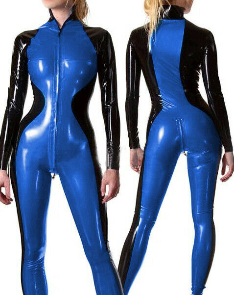 Latex Rubber Men All-body Suit Bodysuit Handsome Catsuit With Zipper Size S-XXL