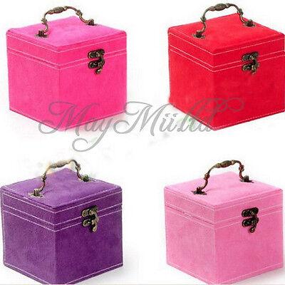 New Vintage Three-tier Jewelry Box Multideck Storage Cases 120x120x120mm J