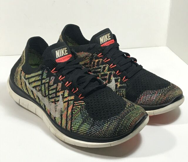 Nike Free 4.0 Flyknit Running Athletic Multicolor Shoes US Sz 8 717076 011