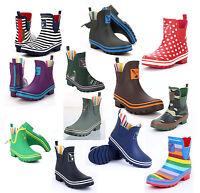 Ladies Evercreatures Ankle Wellies Army, Rainbow Wellington Boots - Uk 3 - 8