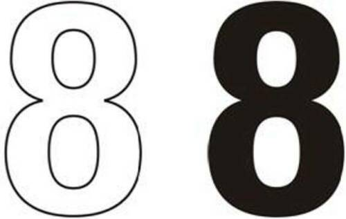75 mm Noir//Blanc auto-adhésif coller sur Vinyle Chiffres /& Lettres Maison Poubelle etc