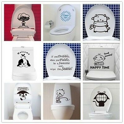 New Art Toilet Seat Wall Sticker Vinyl Removable Bathroom Wall Decals Decor
