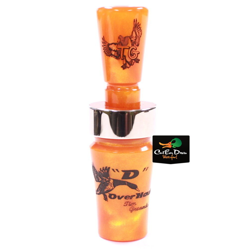 TIM GROUNDS OVERHAULER Solo Reed Duck Call D Tennessee Crush Naranja Acrílico