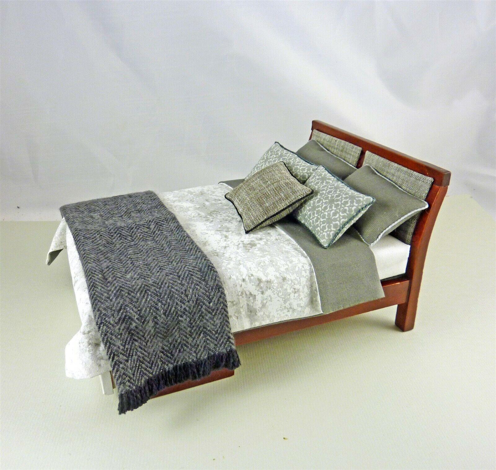 Dollhouse Miniature Artisan Dressed Modern Platform Bed with Throw
