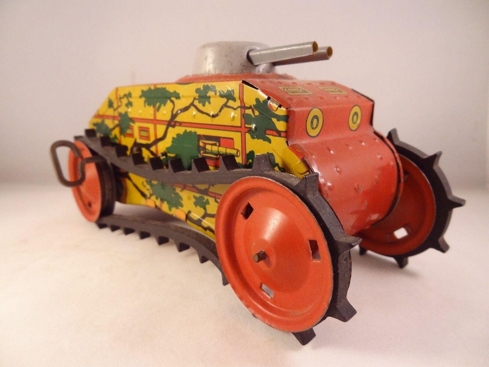 Ancien jouet mécanique Tank tôle litho années 30 style joustra joustra joustra GuntherFemHommes  SFA b95313