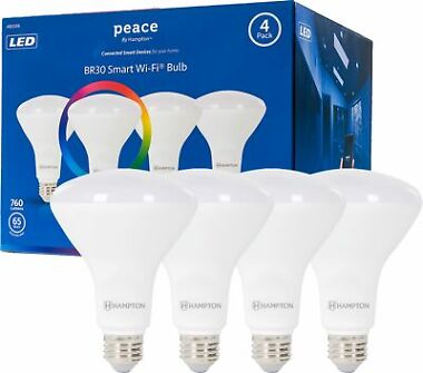4-Pack Hampton Peace BR30 Smart Wi-Fi Full Color LED Flood Light Bulb