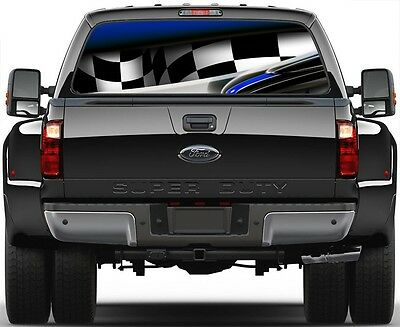 MOTORHEAD CHECKERED RACING FLAG Skull Rear Window Graphic Decal Custom Truck