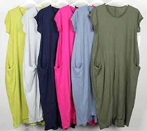 314977c9f55 New Italian Lagenlook Quirky Boho Jersey Soft Cotton Stretch Pocket ...