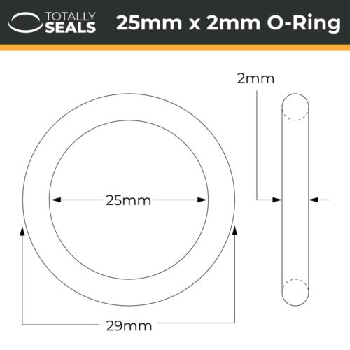 25x2 Nitrile O-rings 29mm OD NBR 25mm Inner Diameter x 2mm Cross Section