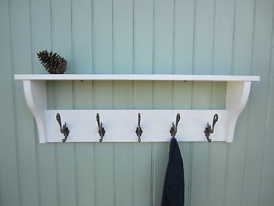 shabby chic white washed hat coat rack shelf with heron hangers  / hw