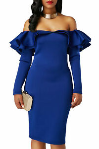 New Royal Blue Ruffle Off Shoulder Long Sleeve Bodycon Midi Dress ... 60b502026838