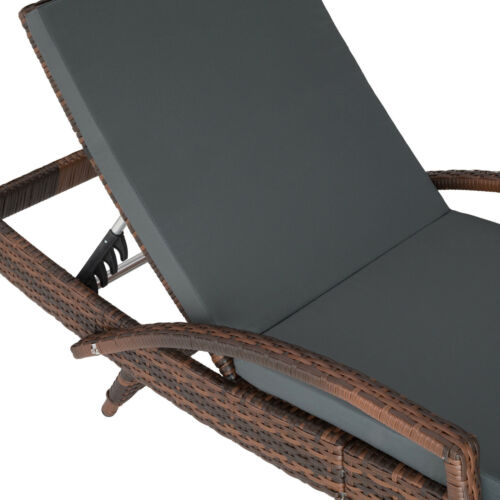 Rattan Sun Lounger Aluminium Adjustable Backrest Weather-Resistant Garden Beach