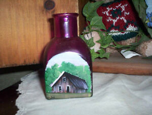 Magenta pink bottle with hand painted summer barn scene