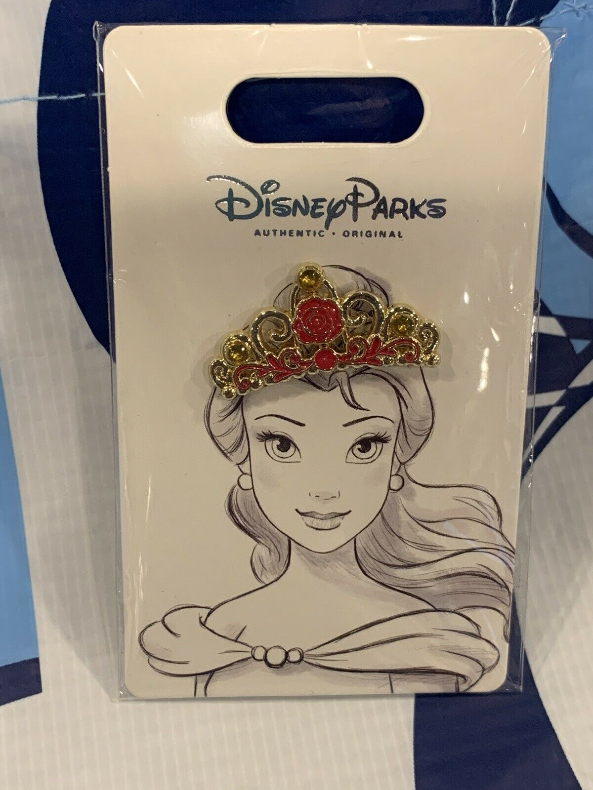 New Disney Parks Princess Tiara Crown Beauty And The Beast Belle Pin