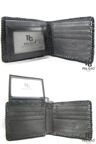 PELGIO Genuine Crocodile Alligator Hornback Skin Leather Handmade Wallet Black