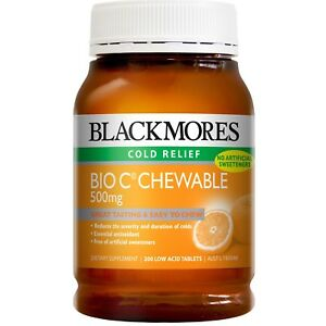 BLACKMORES-BIO-C-CHEWABLE-500MG-200-TABLETS-EASY-TO-CHEW-COLD-RELIEF-ANTIOXIDANT