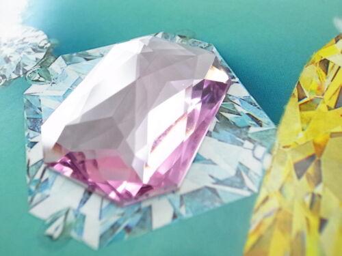 Acrylic Flat-back Octagon Shaped Pink Color Stone No Hole 2 pcs