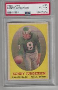 Sonny-Jurgensen-1958-Topps-Rookie-Football-Card-90-HOF-PSA-4-VG-EX