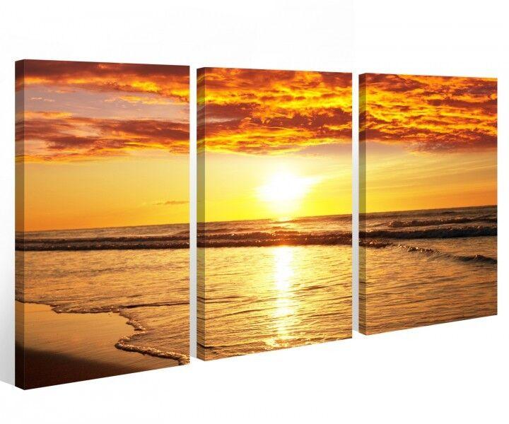 Tela 3 pezzi TRAMONTO MARE SOLE ACQUA onde onde onde Immagini Immagine Parete 9a358 216852
