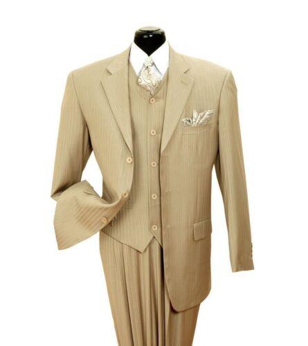 Mens fancy wool feel suit 3 pc w//Vest 3 button striped design Black//Stripe5802V4