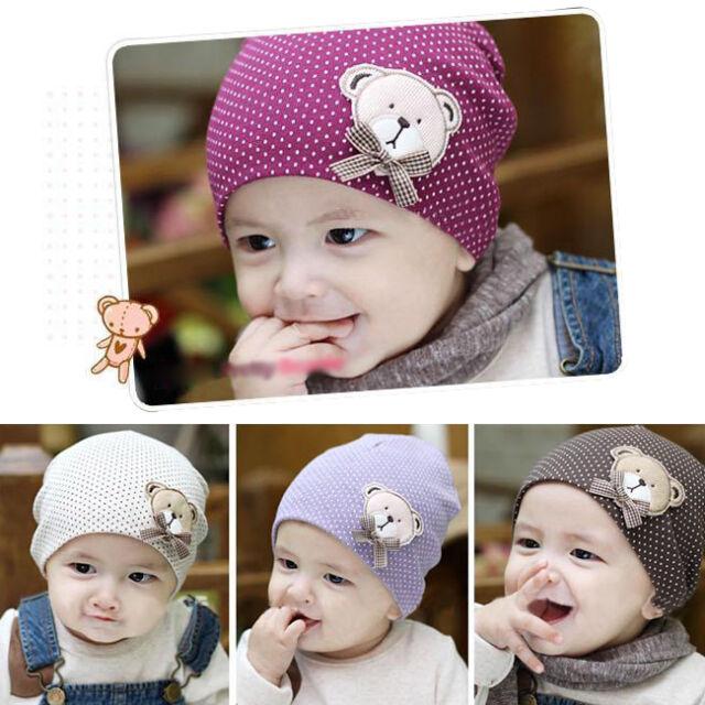 Stylish Bear Dot Pattern Baby Infant Toddler Boy Girl Cotton Hat Cap Soft Beanie