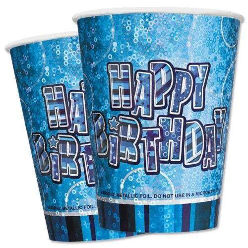 Reluciente vasos de fiesta paquete de 8er azul