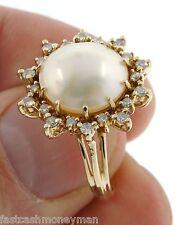 14K YELLOW GOLD LADIES LARGE PEARL & DIAMOND SURROUND COCKTAIL RING SIZE 7 1/4