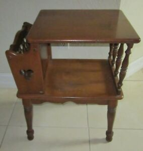 Image Is Loading Vintage Ethan Allen Maple Side Table With Magazine