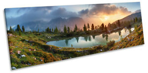 Alps Mountains Lake Landscape Picture PANORAMA CANVAS WALL ART Print
