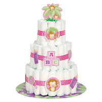 Baby Girl Monkey Diaper Cake Kit (25pc) Shower Party Supplies Decorations Pink