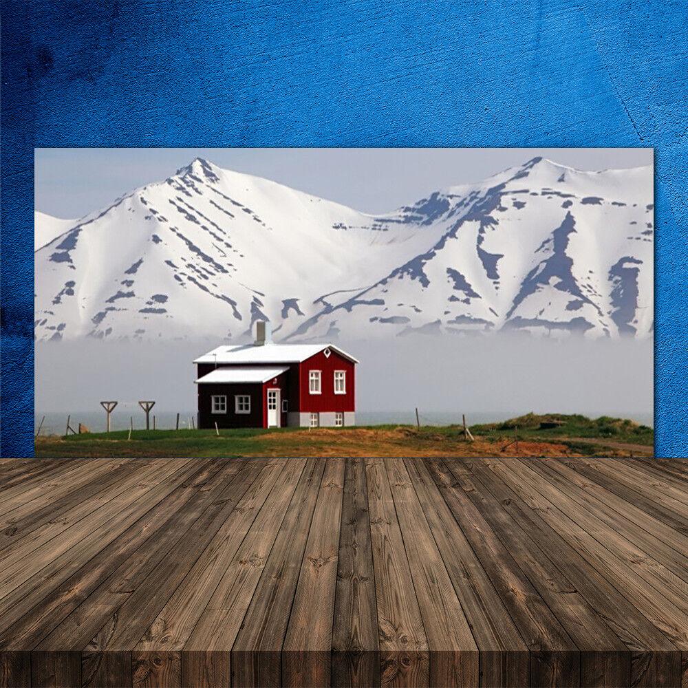 Crédence de cuisine en verre Panneau 120x60 Paysage Maison Montagne