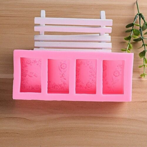 4 Cavity LOVE Rose Flower Silicone Mold DIY Fondant Cake Soap Candle Clay Mould