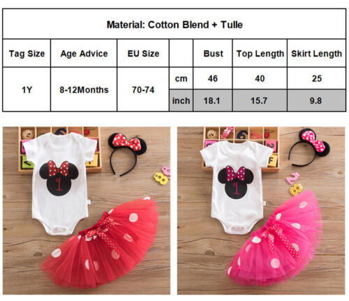 UK 3PCS Baby Girl 1st Birthday Outfit Party Unicorn Romper Cake Smash Tutu Dress
