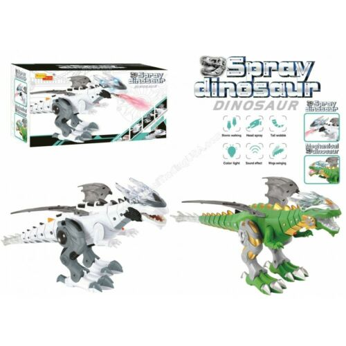 Electronic Walking Dragon Toy /_ Fire Breathing Eau Spray dinosaure Blanc