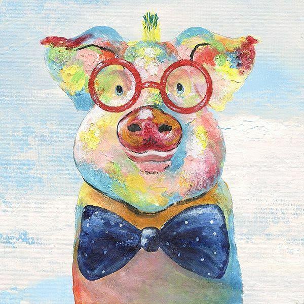 Tava Studios  Groovy Pig and Sky Keilrahmen-Bild Leinwand Schwein bunt lustig