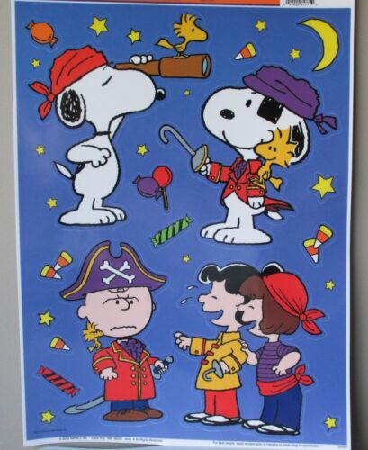 Peanuts Snoopy Charlie Brown Halloween Window Cling Sheet, Set of 18 Pirates New