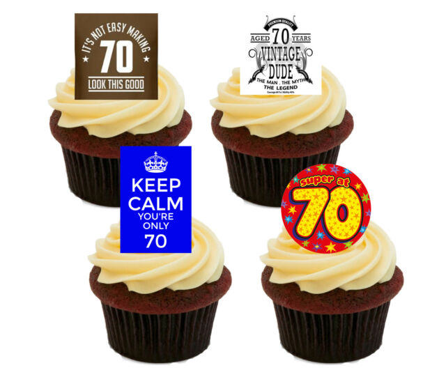 70th Birthday Male Funny Edible Cupcake Toppers Standup Wafer Cake Decorations