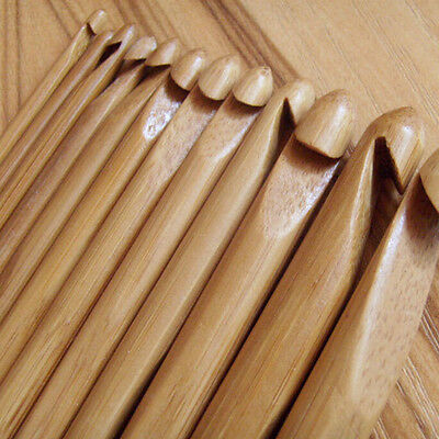 "12pcs 6"" Bamboo Handle Crochet Hook Knit Craft Knitting Needle Weave Yarn 3-10mm"