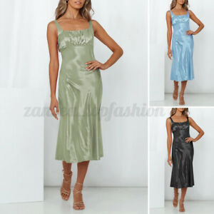 Womens Summer Solid Strappy Midi Dress Ladies Silky Dresses Party Gown Sundress