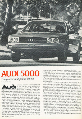 1978 Audi 5000 Original Road Test Car Print Article LTG1