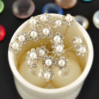 20Pcs Fashion Lady Beaty Bridal Wedding Flower Pearls Headband Hair Pins Clips