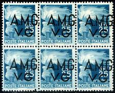 Occupazione della Venezia Giulia 1945/47 n. 13hd ** blocco di 6 - varietà (m787)