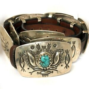 RARE UNIQUE Navajo Lyndon Tsosie Sterling Silver Number 8 Turquoise Concho Belt