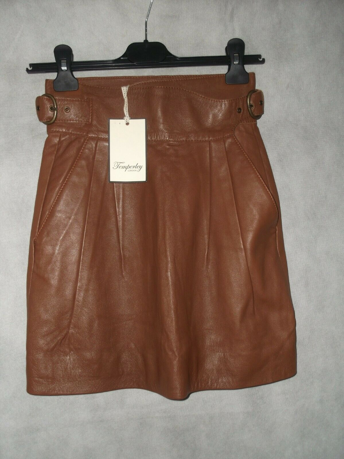 NEW WITH TAGS Temperley London tan leather belted mini Rock Größe 8