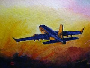 watercolor painting sunset airplane take off plane trip vacations