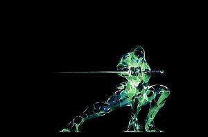 Framed Print Neon Green Ninja On A Black Background