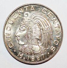 1967 CINCUENTA CENTAVOS coin snake MEXICO world foreign uncirculated BU