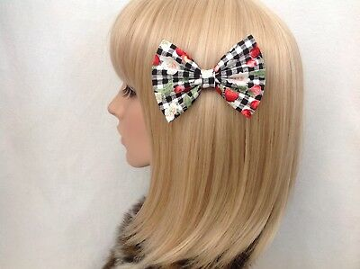Navy blue with red cherry print Rockabilly Pin up Hair Bow Clip